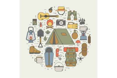 Hiking and Camping Line Icon Set