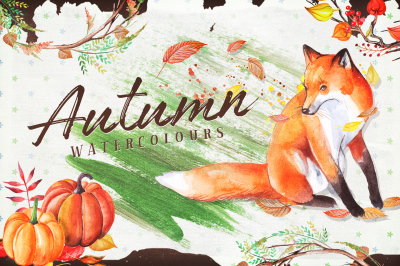 Autumn Watercolour Wreaths & Clipart