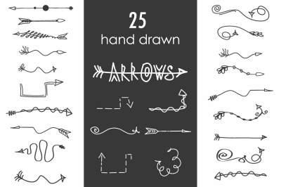 Doodle hand drawn arrows