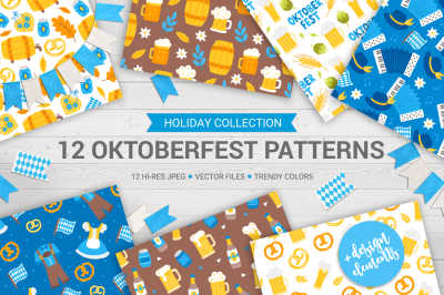 12 Oktoberfest Seamless Patterns