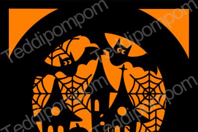 Halloween Haunted House & Bats SVG