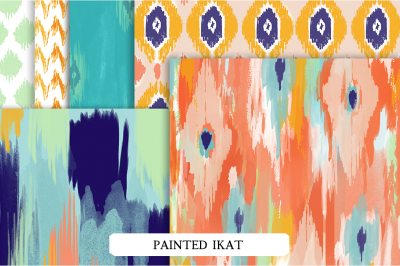 Hand Painted Ikat Patterns & Abr Brushes