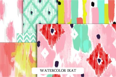 Watercolor Ikat Patterns & Brushes
