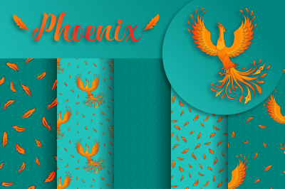 Phoenix. 5 vector patterns + bonus
