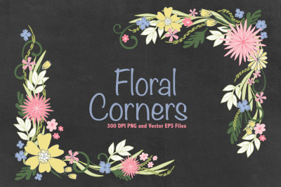 Floral Corners Vector EPS and PNG