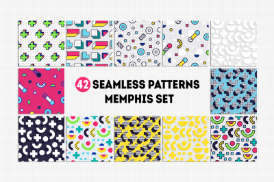 42 MEMPHIS seamless patterns set