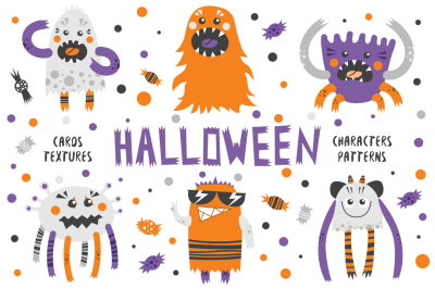 Halloween monsters and patterns