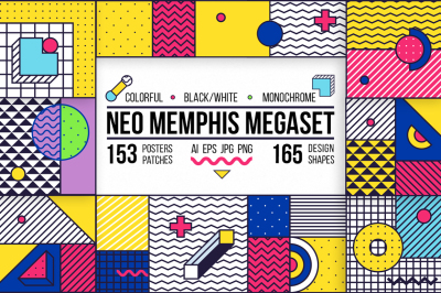 Big memphis set. Backgrounds, elements