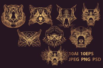 Wild animals gold contour