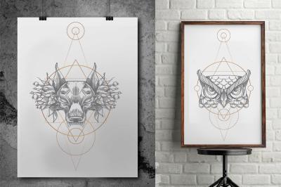 Wild animals and geometric symbols