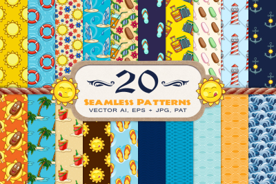 20 Summer Seamless Vector Patterns