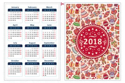2018. Calendar template. Printable Sampler. Instant Download