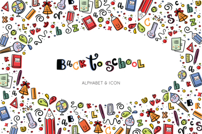 Back to school alphabet & icon