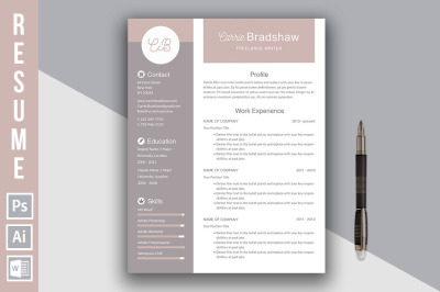 Resume template 'Carrie Bradshaw'