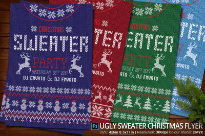 Ugly Sweater Christmas Party Flyer And Poster