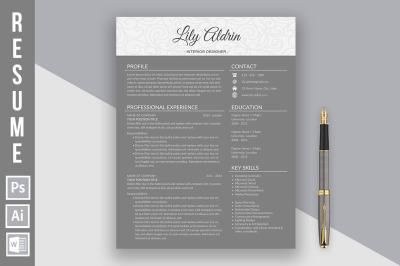 Resume template 'Lily Aldrin dark'