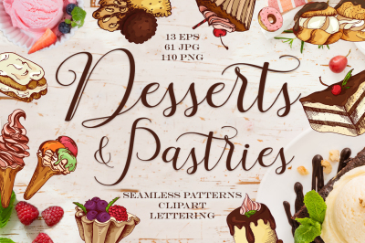 Desserts&Pastries clipart+lettering