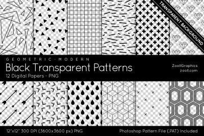 Black Transparent Patterns Digital Papers
