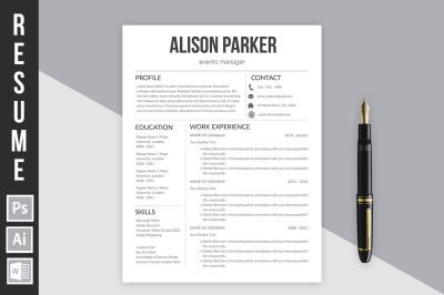 Resume template 'Alison Parker'