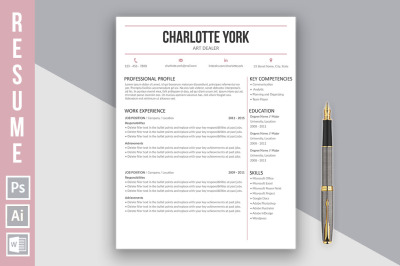 Resume template 'Charlotte York'