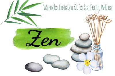 Bamboo Zen & Spa Watercolor Clipart