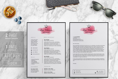 Watercolor Crown Elegant Resume Template - CV/ Letterhead/ G