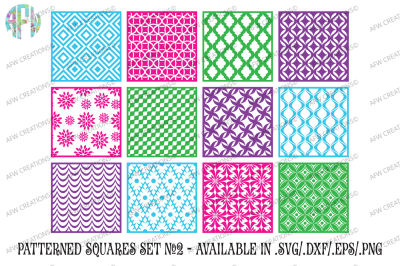 Pattern Squares Set 2 - SVG, DXF, EPS Cut Files