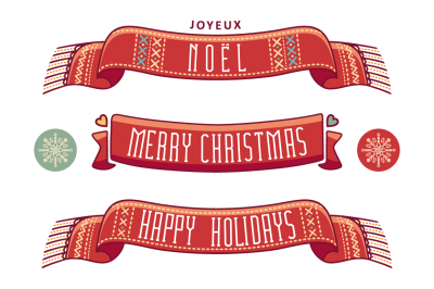 Christmas banner. Scarf. Christmas ribbon. Happy holidays. Noel.
