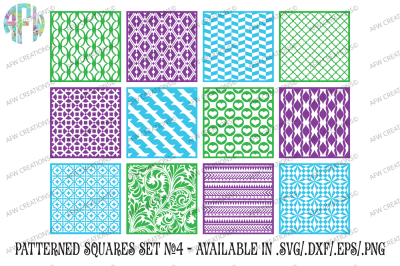 Pattern Squares Set 4 - SVG, DXF, EPS Cut Files