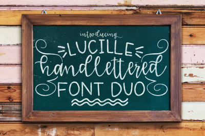 Lucille Hand Lettered Font Duo