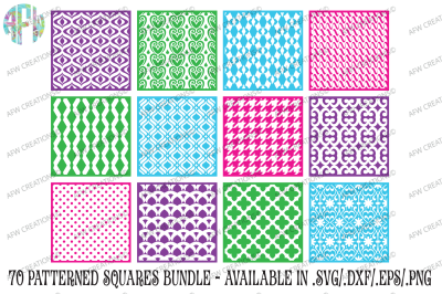 70 Pattern Squares Bundle - SVG, DXF, EPS Cut Files