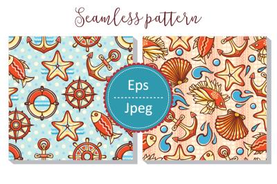 Sea pattern.  Seamless wallpaper. Sailor Illustration. Nautical ornament.