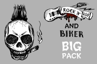 Skull,biker and rock elements
