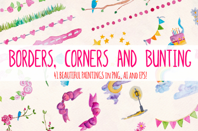 40 Watercolor Borders, Corners and Bunting Graphics