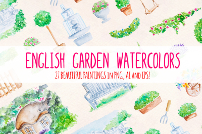 27 English Garden Watercolor Graphic Illustrations