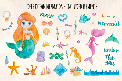 37 Mermaid and Ocean Watercolor Graphics