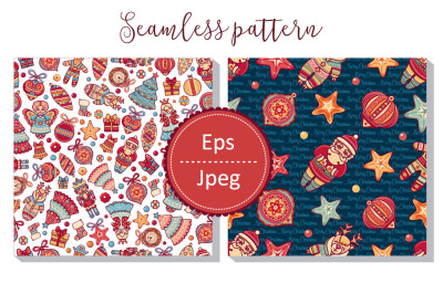 Patchwork. Seamless pattern. Merry Christmas toy.