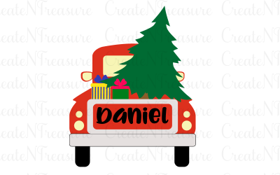 Christmas Truck, Christmas Tree monogram. Cutting file for Silhouette and Cricut. SVG, DXF, PNG