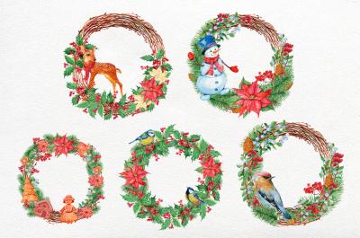 5 Christmas wreaths.watercolor illustration