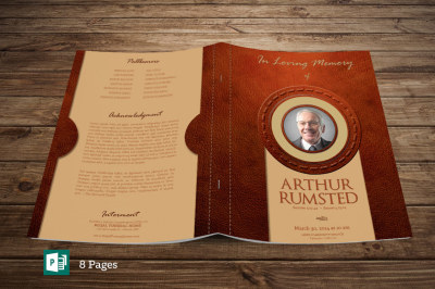 Leather Funeral Program Publisher Template - 8 PAGES