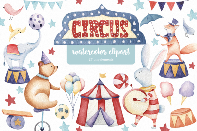 Circus animals watercolor clipart Festive clipart