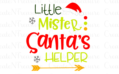 Christmas svg, Little Mister Santa's Helper svg. Cutting file for Silhouette or Cricut. Boys Santa Christmas saying SVG, PNG, DXF