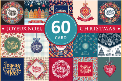Joyeux Noel. 60 Christmas greeting card. French Merry Xmas. Winter background. France. Holiday ornament. Big Bundle