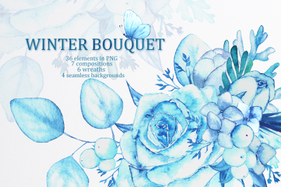 Winter bouquet - watercolor set