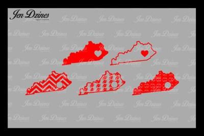 Kentucky Outline, Football, Baseball, Chevron, Heart SVG DXF EPS PNG