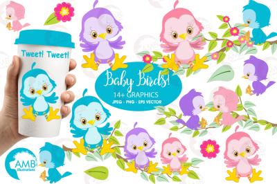 Shabby Chic Birds clipart, graphics, illustrations AMB-829