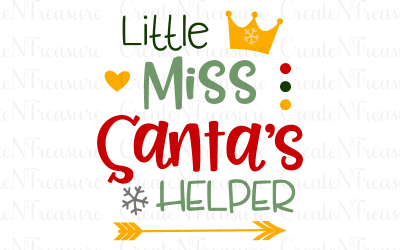 Christmas svg, Little Miss Santa's Helper svg. Cutting file for Silhouette or Cricut. Girls Santa Christmas saying SVG, PNG, DXF