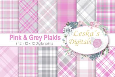 Pink Plaid Digital Paper