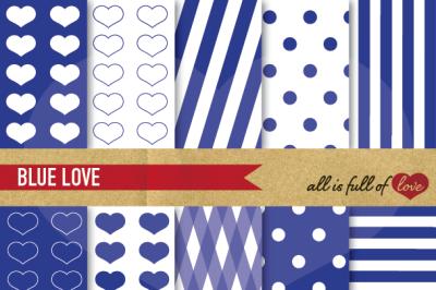 Love Backgrounds in Navy Blue Digital Paper Pack digital background