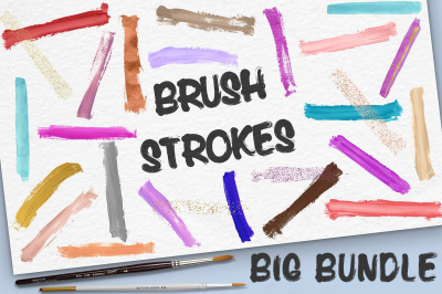 Handpainted Brush Strokes BIG BUNDLE